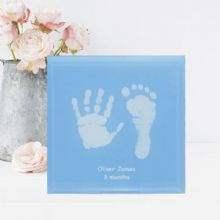Pastel Hand and Foot Print Glass Tile with Stand - Unique Baby Keepsake